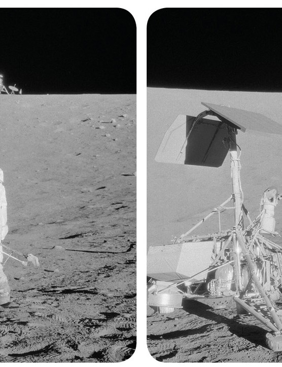 Apollo 12 astronaut Pete Conrad studies the Surveyor 3 spacecraft on the surface of the Moon