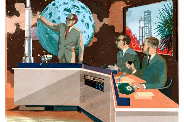 Patrick Moore and the rest of the Sky at Night team report on the Apollo 11 moon landing. Credit: Alex Green/Folio Art