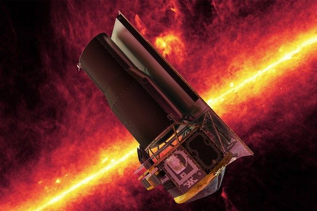 An artist's concept showing NASA's Spitzer Space Telescope in front of an infrared image of the Milky Way. Credit: NASA/JPL-Caltech