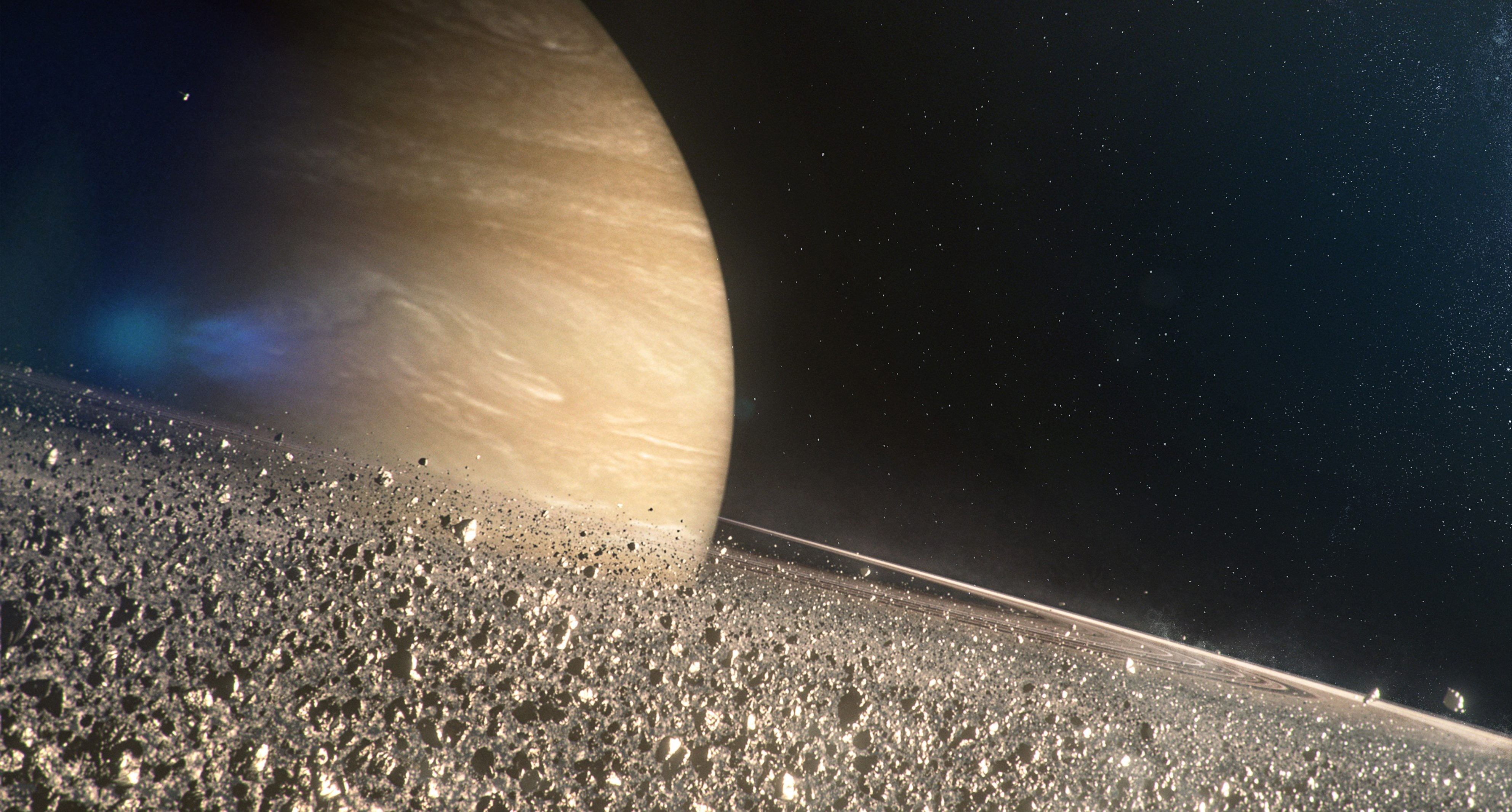 Picture Shows: Saturn's rings are made up of countless particles. Whislt the majority are tiny, almost microscopic, some are the size of sky scrapers. CG close-up of Saturn's rings.