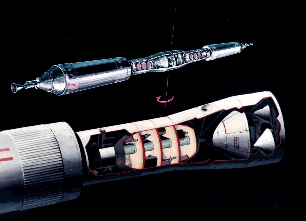 Once en route to Mars the two spacecraft would link up and spin, generating artificial gravity for the astronauts within them. Credit: Marshall Space Flight Center/NASA
