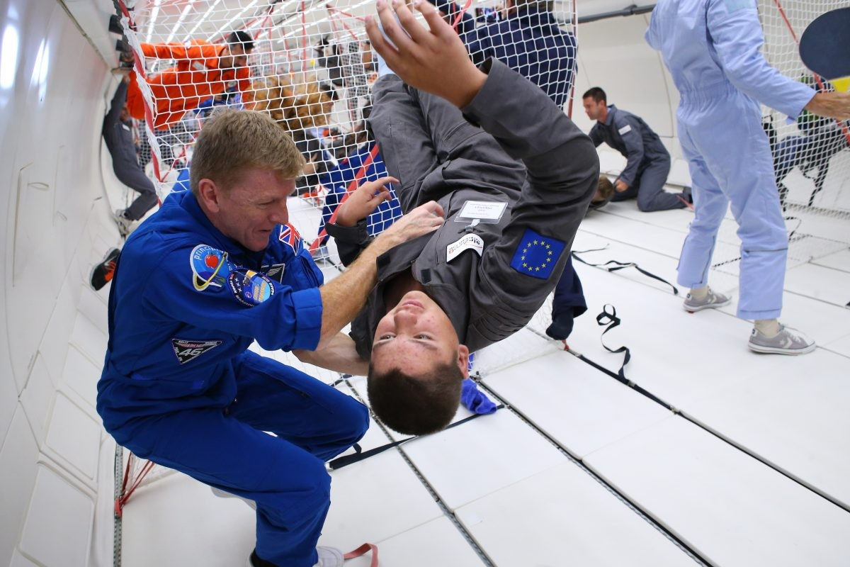 Memories of life in zero-gravity. Tim Peake takes part in the Kid's Weightless Dreams campaign on 24 August 2017. The initiative gave children with disabilities the chance to experience weightlessness on a parabolic flight. Credit: ESA/Novespace