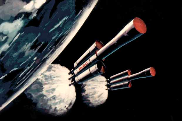 Wernher von Braun's proposed spacecraft was based around three reusable Nuclear Shuttles. Credit: Marshall Space Flight Center/NASA