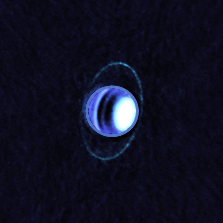 Uranus's cold rings Atacama Large Millimeter/submillimetre Array and Very Large Telescope, 20 June 2019 Credit: ALMA (ESO/NAOJ/NRAO); Edward M. Molter and Imke de Pater)