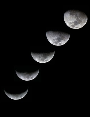 Moon phases in the southern hemisphere Luis Rojas M, Santiago, Chile, 13 October – 17 October 2018. Equipment: Canon EOS Rebel T6i, Explore Scientific 102mm ED refractor, iOptron iEQ30 Pro mount.