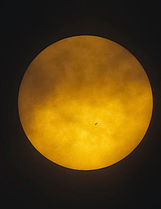 ISS Solar Transit Ian Smith, Whitminster, 29 April 2019. Equipment: ZWO ASI294MC Pro camera, Altair Wave Series 80mm triplet apo refractor, Sky-Watcher HEQ5 mount.