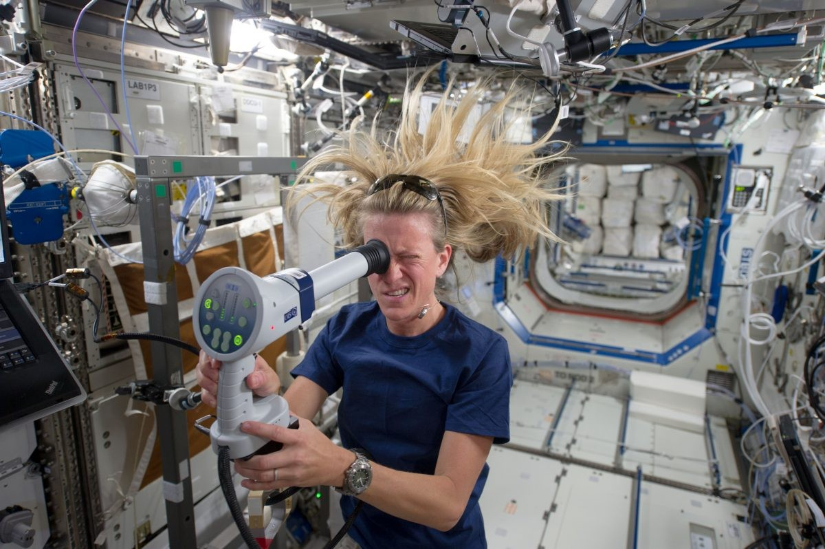 Ocular health is a big concern for astronauts, as lack of gravity can affect the eyes in numerous ways. Experiments on the International Space Station are helping scientists understand the effects of life in space on the human body. Here, NASA astronaut Karen Nyberg uses a fundoscope to image her eye while in orbit. Credit: NASA