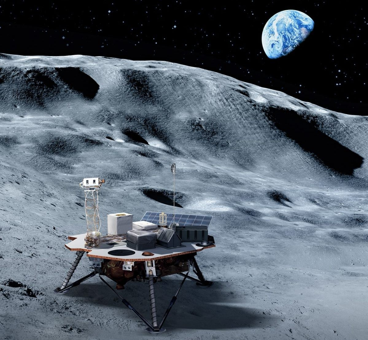 Lunar landers could carry science and technology payloads to the Moon to help NASA astronauts land on its surface once more. Credits: NASA