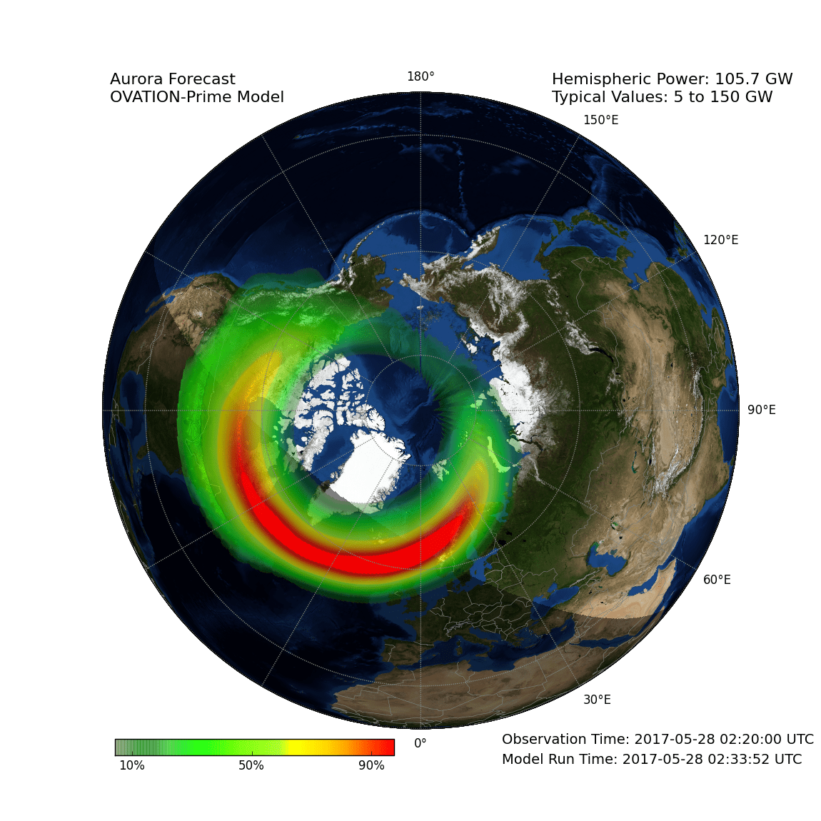 An Auroral Ovation Model created at the Met Office. This indicates the percentage probability of seeing the aurora. Credit: Met Office