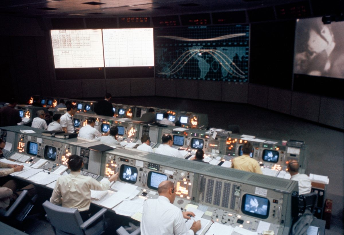Mission Operations Control Room in the Mission Control Center, Building 30, during Apollo 9. Credit: NASA