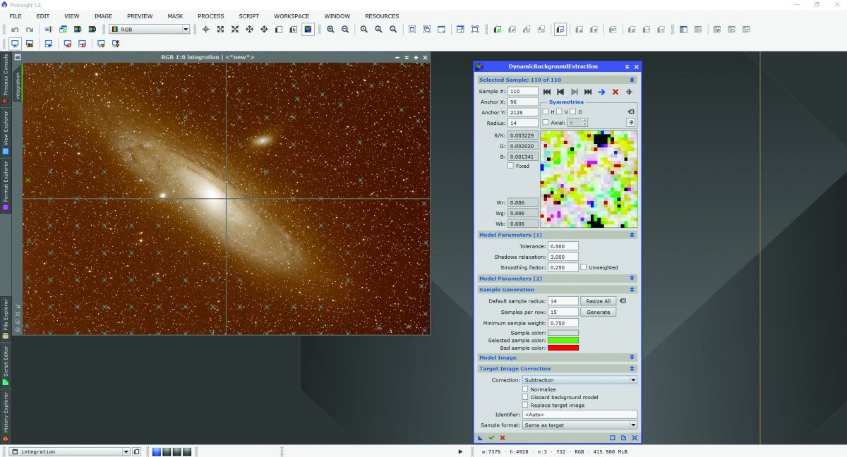 PixInsight's DynamicBackgroundExtraction (DBE) is the point at which you remove light pollution and other unwanted background colour.