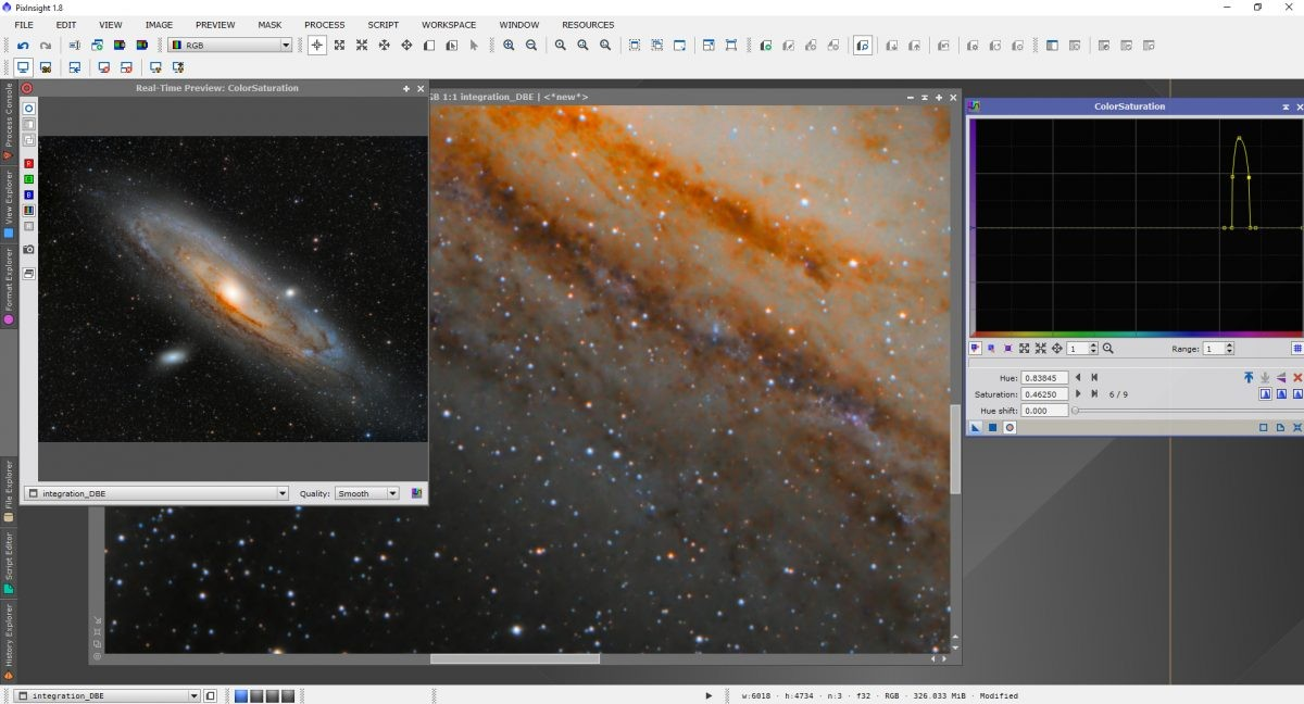 Once DBE has been applied you can see the unwanted colour it has removed, nicely cleaning up the image.