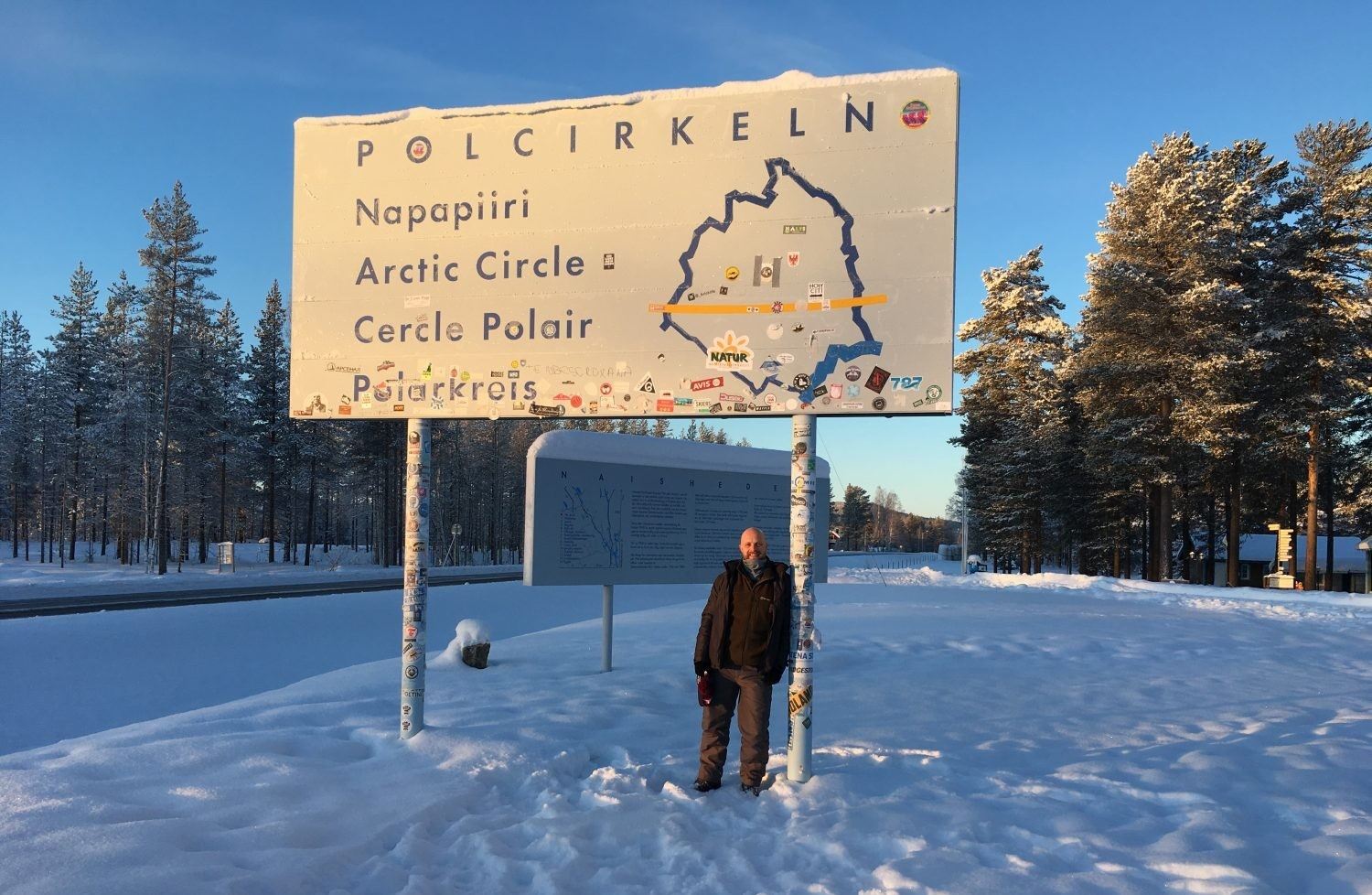 After a two-hour drive north of Luleå through reindeer country, we reach the Arctic Circle. Credit: Chris Bramley