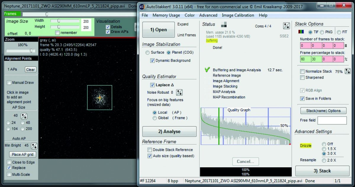 AutoStakkert! is processing the video to reduce it to a single stacked and aligned master frame. Here, Planet mode with noise robust set at eight gives a positionally stable image. Credit: Martin Lewis