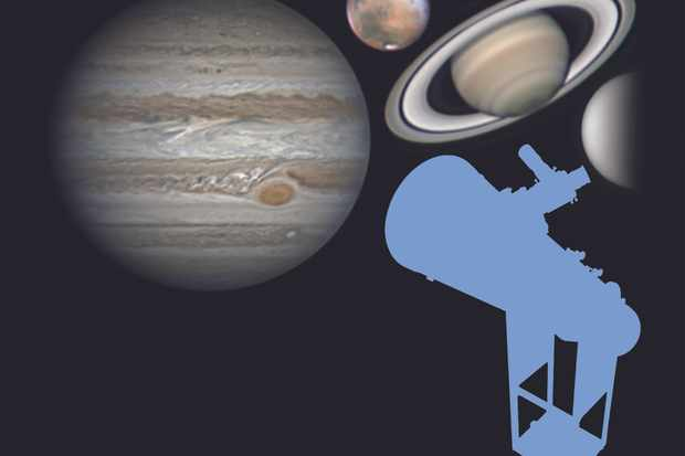 Jupiter, Mars, Saturn and Venus imaged through Dobsonian scopes. Credit: Martin Lewis