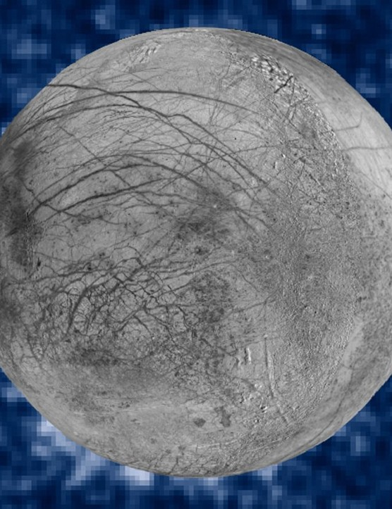 A Hubble Space Telescope image of Europa showing suspected plumes of water vapour erupting at the 7 o'clock mark. These plumes could be evidence of a subsurface ocean below Europa's icy crust. Credits: NASA/ESA/W. Sparks (STScI)/USGS Astrogeology Science Center
