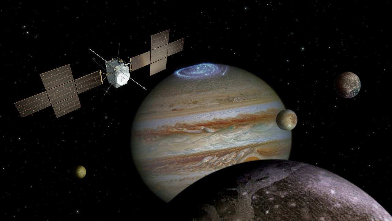 An artist's impression of the JUICE spacecraft exploring Jupiter. Credit: Spacecraft: ESA/ATG medialab; Jupiter: NASA/ESA/J. Nichols (University of Leicester); Ganymede: NASA/JPL; Io: NASA/JPL/University of Arizona; Callisto and Europa: NASA/JPL/DLR