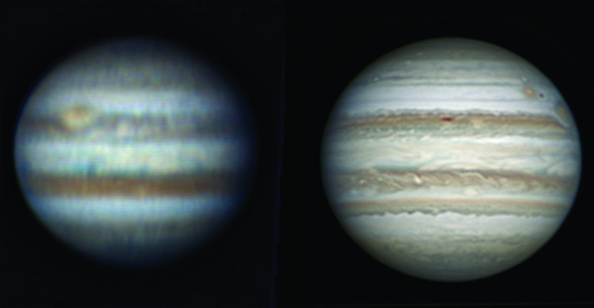 Left: Jupiter imaged with a 8.7-inch Dobsonian using the drift method. Right: Jupiter imaged with the same scope but mounted on a driven equatorial platform. Credit: Martin lewis