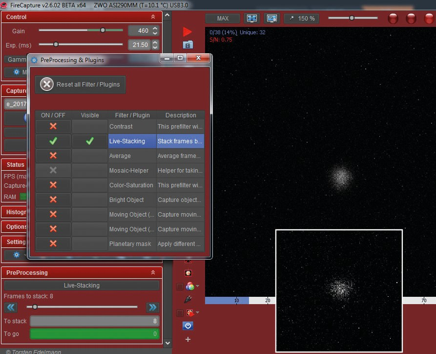 The live stacking feature in FireCapture helps reduce noise levels and aids focussing. The last eight frames are being aligned and stacked here. Inset is the image of Neptune before live stacking, for comparison. Credit: Martin Lewis