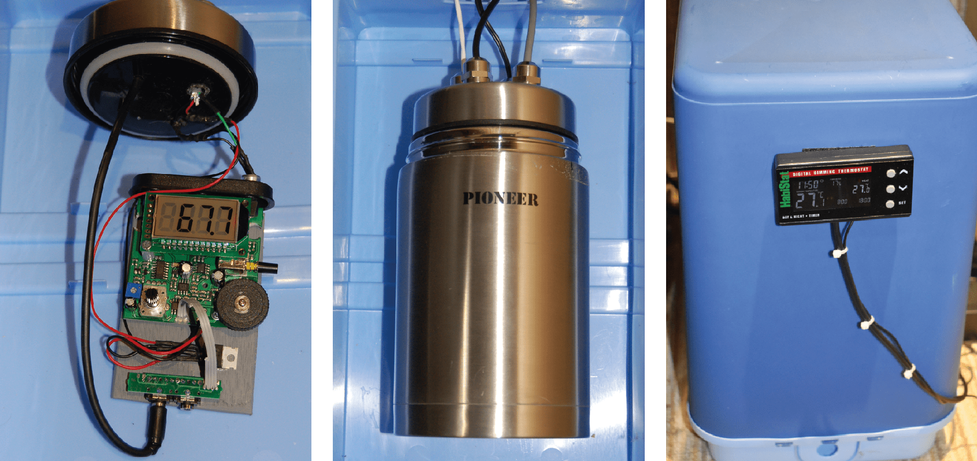 Þ Temperature stability is vital, hence the magnetometer (left) is housed in a vaccuum flask (centre), which is kept inside cool box (right). Credit: Stuart Green