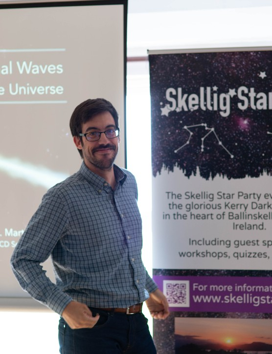 Martin Carillo during his talk on the Universe at Skellig Star Party 2019. Credit: Roy Stewart