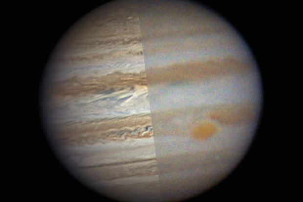 Fixing noise makes a monumental difference: on the right is the single best frame from a video of Jupiter, on the left the final edit. Credit: Martin Lewis