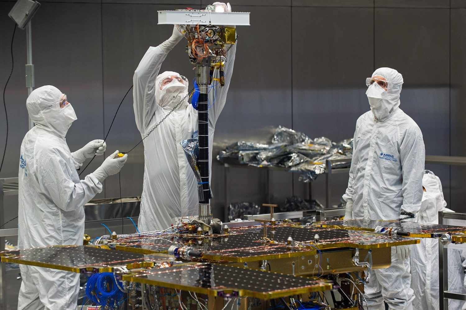 Engineers fit the PanCam to the Rosalind Franklin Mars rover at Airbus Defence and Space, Stevenage, UK. Credit: Airbus–M.Alexander