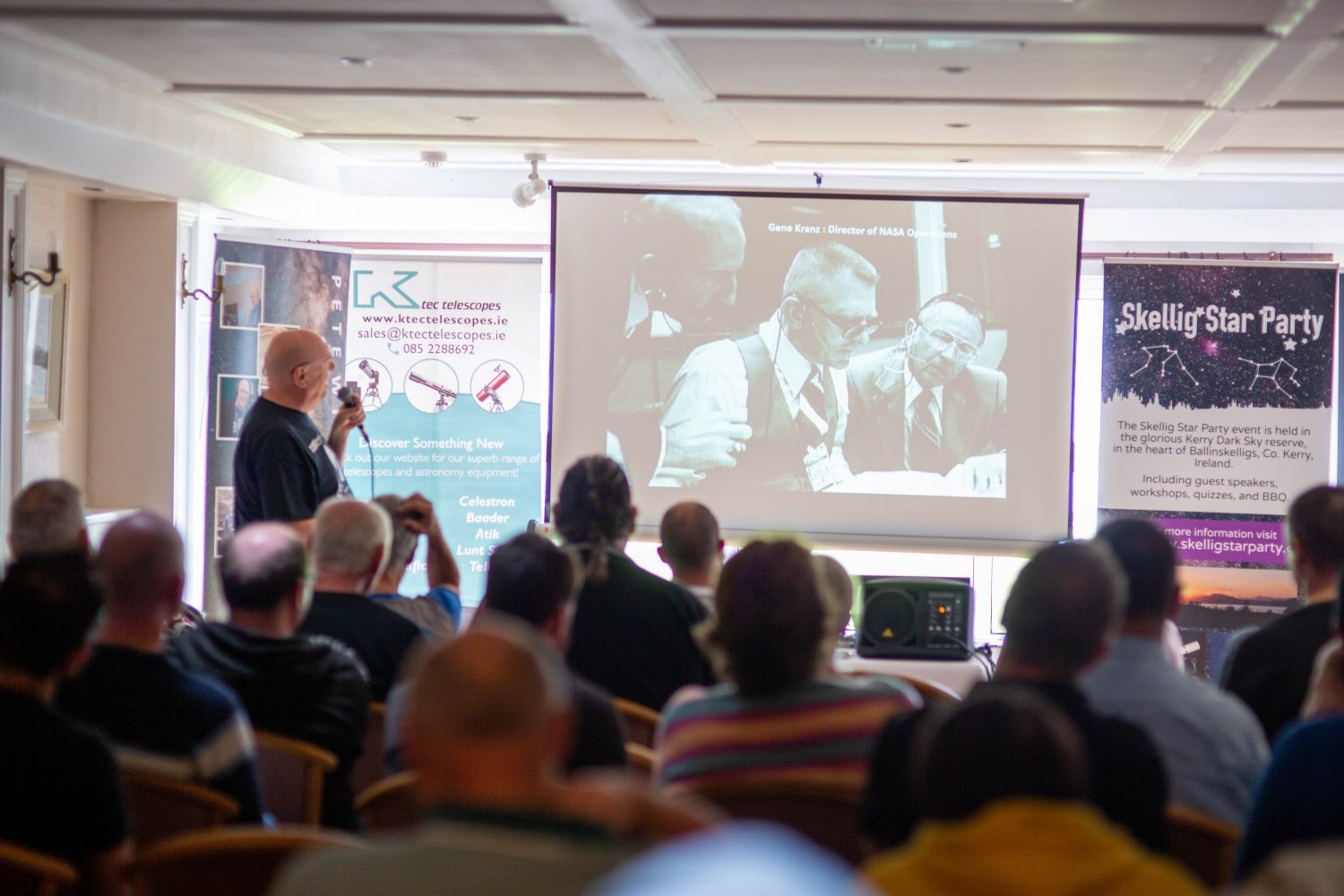 Pete Williamson during his talk on the Apollo missions at Skellig Star Party 2019. Credit: Roy Stewart