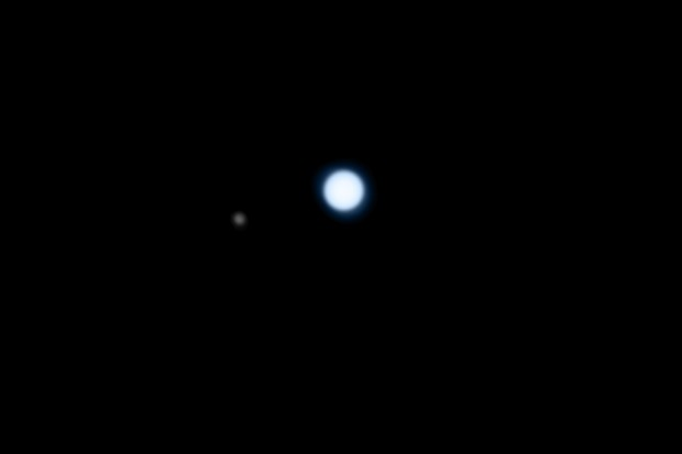 Neptune and its largest moon Triton imaged through a 356mm telescope. Credit: Pete Lawrence
