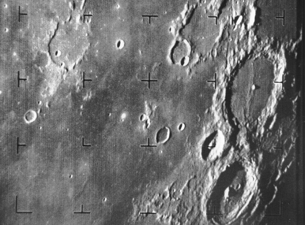 This is the first image of the lunar surface captured by a US spacecraft. Ranger 7 took this picture of the Moon on 31 July 1964. Credit: NASA/JPL-Caltech