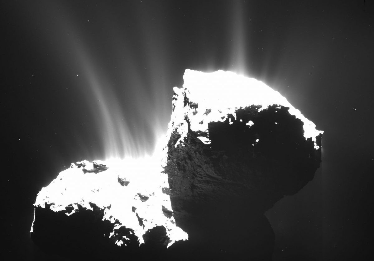 The Rosetta mission revealed plumes of dust and gas erupting from the surface of Comet 67P/Churyumov-Gerasimenko
