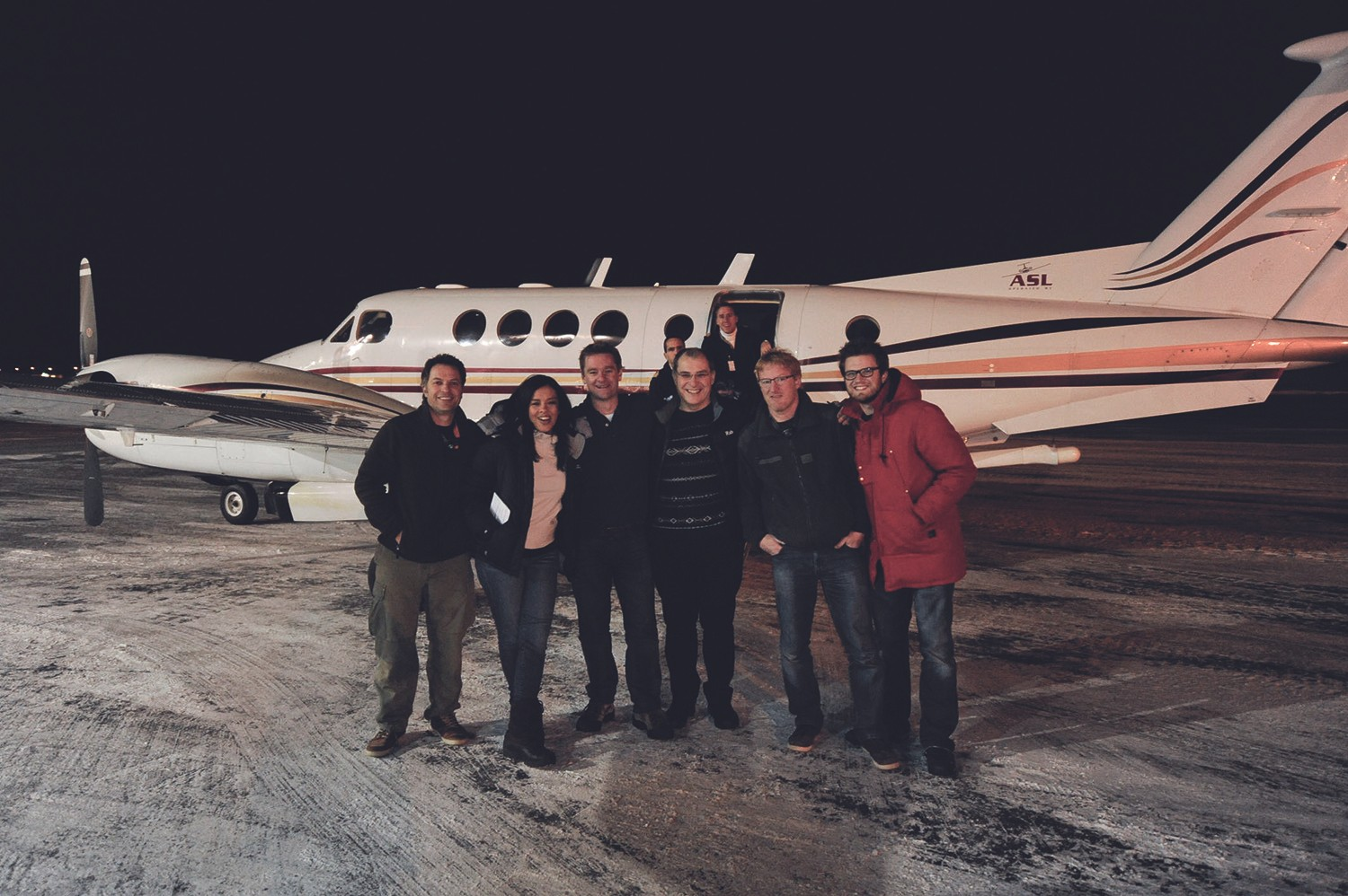 Liz with the Stargazing LIVE team in 2014 just before boarding the plane to go aurora hunting. Credit: Liz Bonnin