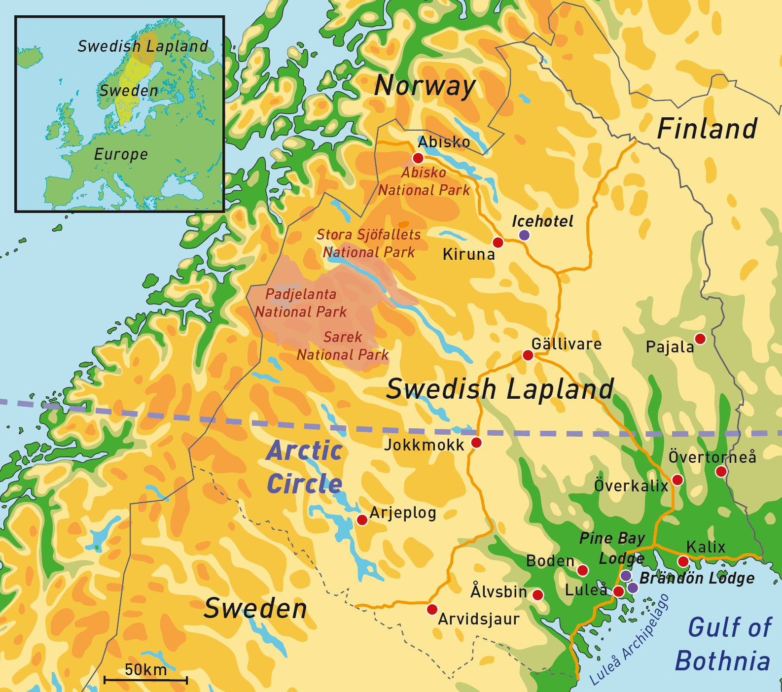 > Swedish Lapland, the Arctic north of Sweden: Luleå, Pine Bay Lodge and Brändön Lodge are shown in the south east; Kiruna and the nearby Icehotel are in the north.