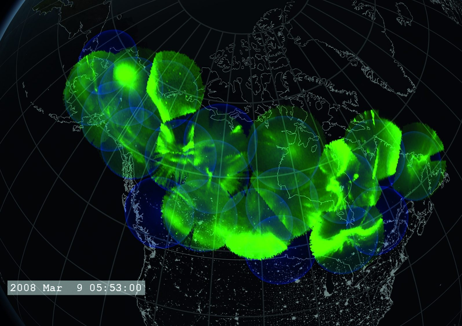 All-sky camera images can be combined to make an aurora map that covers all of Canada. Credit: NASA Goddard Space Flight Center Scientific Visualization Studio