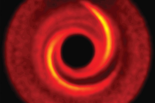 Following clues: a computer model of the spiral arms in the disc around the hot star MWC 758. Credit: ESO, M. Benisty et al. (University of Grenoble), R. Dong (Lawrence Berkeley National Laboratory), and Z. Zhu (Princeton University)