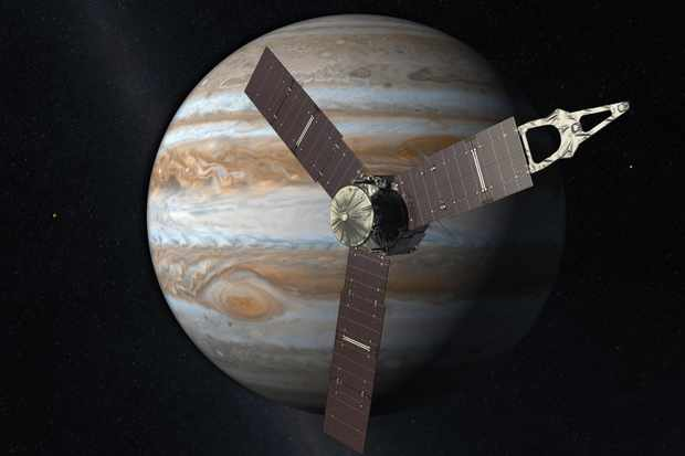 An artist's impression of the Juno spacecraft at Jupiter. Credit: NASA