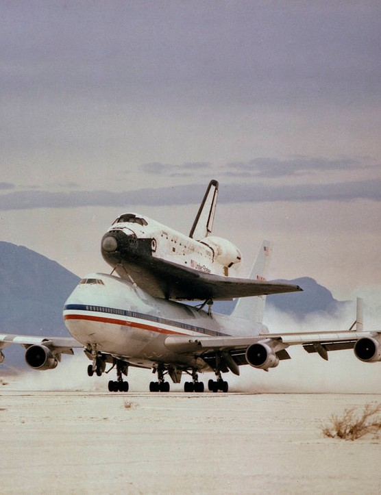 Space Shuttle Columbia pictured atop NASA's Boeing 747 Shuttle Carrier, 6 April 1982, on its journey from White Sands Missile Range in New Mexico back to Kennedy Space Center. Credit: NASA.