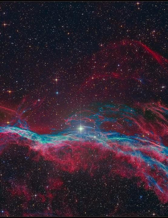 The Veil Nebula Kfir Simon, Tivoli Astrofarm, Namibia, 1-5 June 2019. Equipment: Apogee Alta U-16M camera, 16-inch Dream Astrograph.