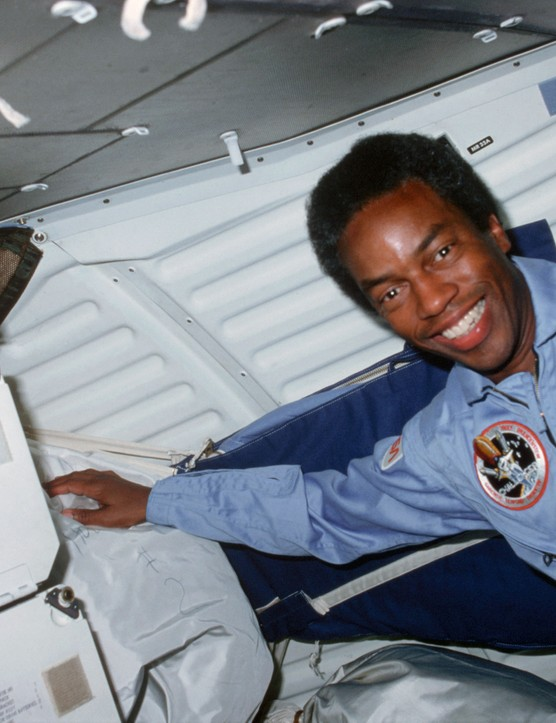 Guion Bluford became the first African American to fly in space when he launched aboard Challenger's STS-8 mission, 30 August 1983. Credit: NASA