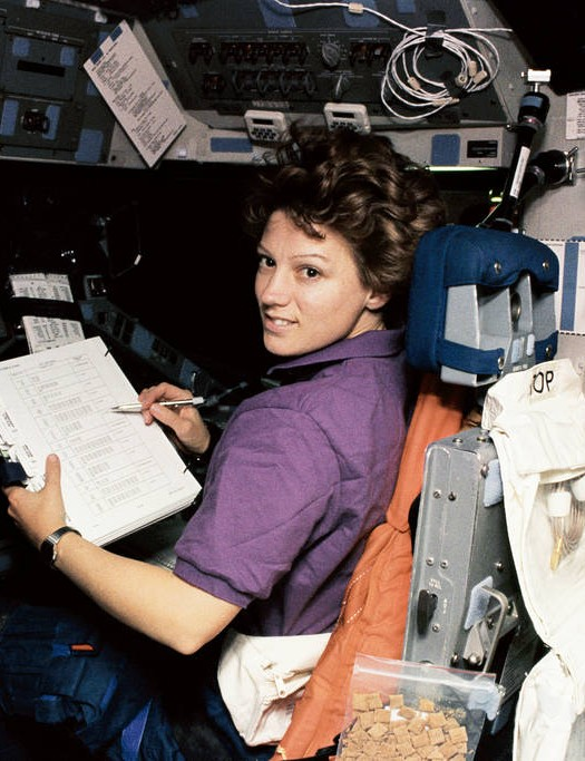Eileen Collins - the first woman to pilot the Space Shuttle, pictured onboard Discovery during the STS-63 mission, 3 February 1995. Credit: NASA