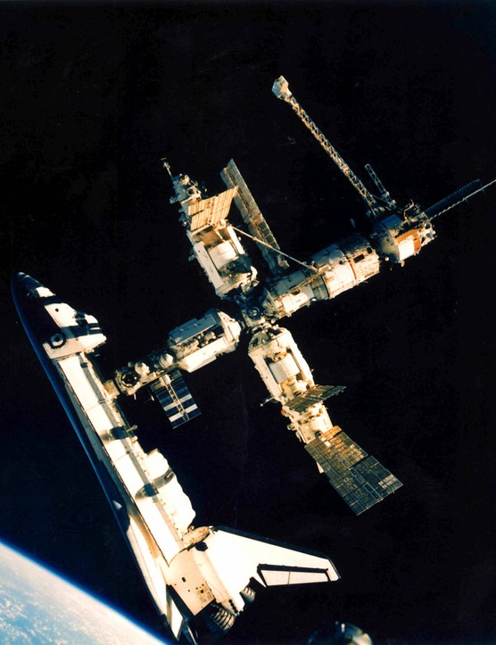 Atlantis makes the first ever Space Shuttle docking with the Russian Mir space station, 29 June 1995. Credit: NASA