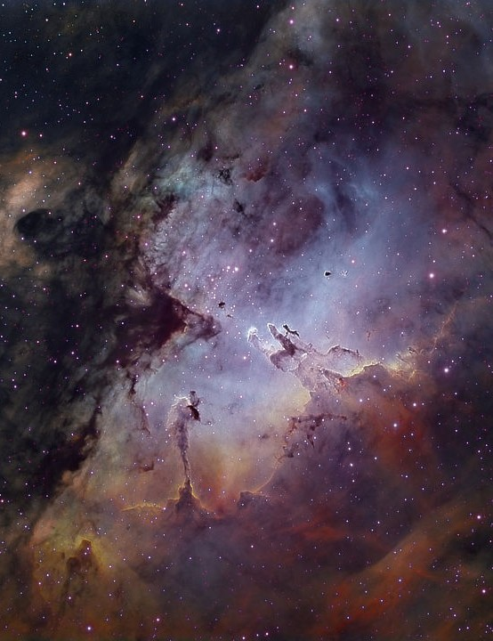 The Eagle Nebula David Wills, Oria, Spain, 23-30 June 2019. Equipment: Xpress Trius SX-694 mono CCD camera, TEC 140 f/7 apo refractor, iOptron CEM60 mount.