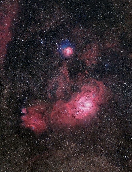 The Lagoon and Trifid Nebulae Terry Hancock, Grand Mesa Observatory, California, US, 27 June 2019, 4 July 2019. Equipment: QHY128C CMOS camera, QHY16200A 7 position mono CCD camera, William Optics Redcat 51 apo refractor.
