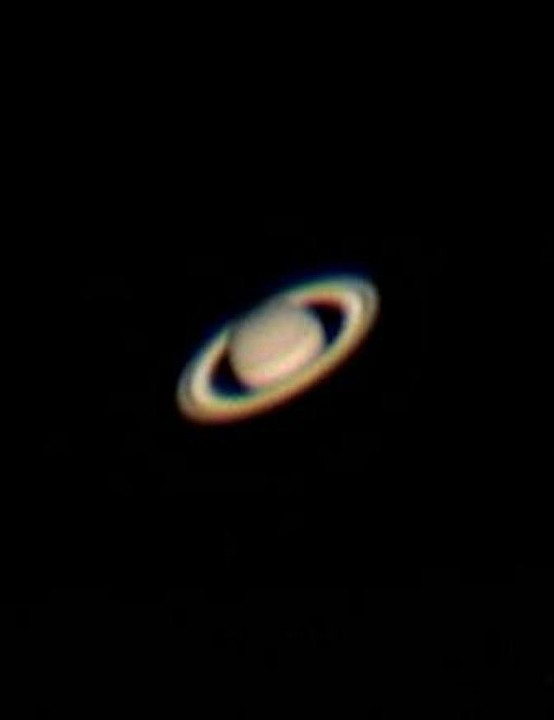 Saturn Sue Silver, Sheffield, 22 July 2019. Equipment: ZWO ASI 120 MC-S camera, NexStar 6SE Schmidt-Cassegrain, Celestron CG-5 German equatorial mount.