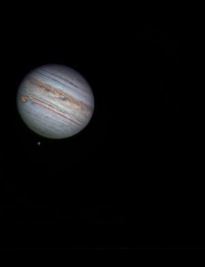 Jupiter and moons Roger Hutchinson, London, 14 July 2019. Equipment: ZWO ASI174MM camera, Celestron Edge HD11 Schmidt-Cassegrain