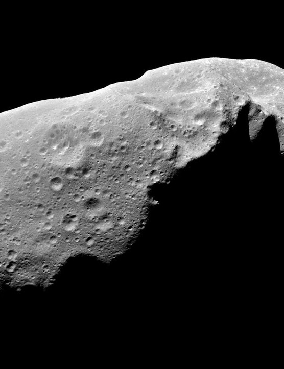A five-frame mosaic of asteroid 243 Ida, captured by the Galileo spacecraft on 28 August 1993. Galileo flew 2,400km from Ida at a relative speed of 12.4km per sec, 441 million km from the Sun. Credit: NASA/JPL
