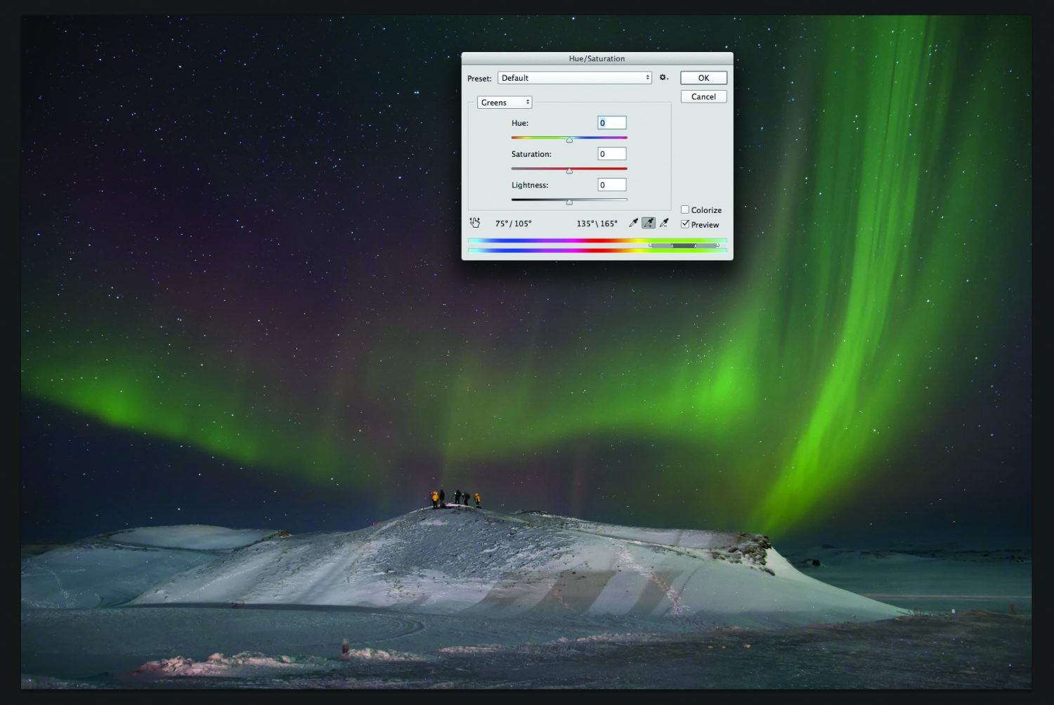 Use the Hue/Saturation sliders to give your aurora a realistic colour. Credit: James Woodend