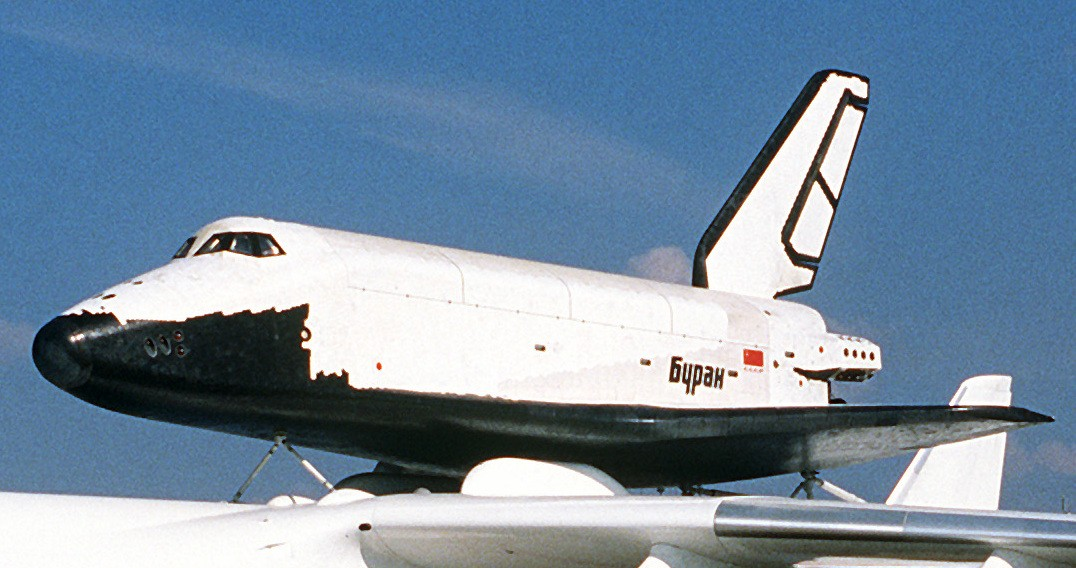 The Buran pictured at the 38th Paris International Air and Space Show, 1989. Credit: Master Sgt. Dave Casey