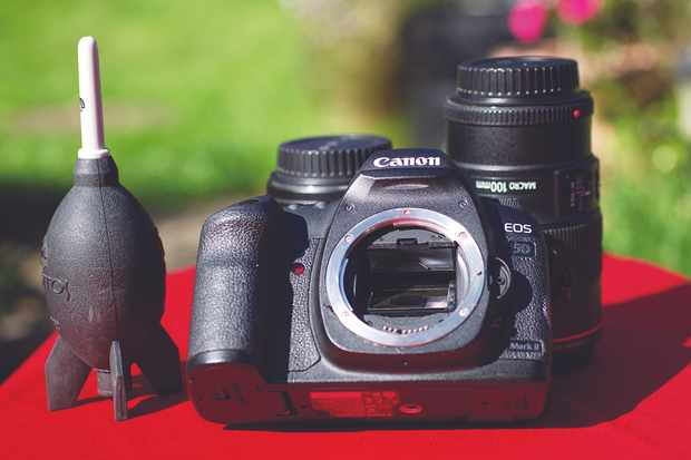 The sensor of a DSLR camera is tucked behind the reflex mirror – as such, the camera has to be switched on while you clean it. Credit: Ian Evenden