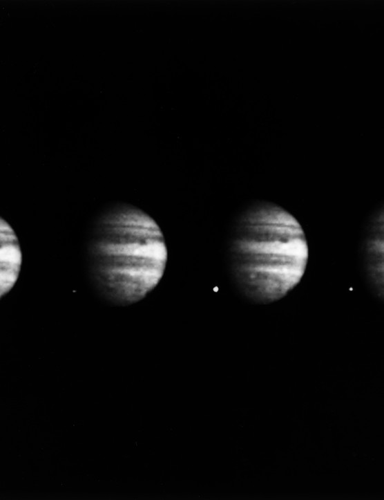 Four images of Jupiter show the impact of fragment W of Comet Shoemaker-Levy 9, captured by the Galileo spacecraft on 22 July 1994. Credit: NASA/JPL-Caltech/Galileo Imaging Team